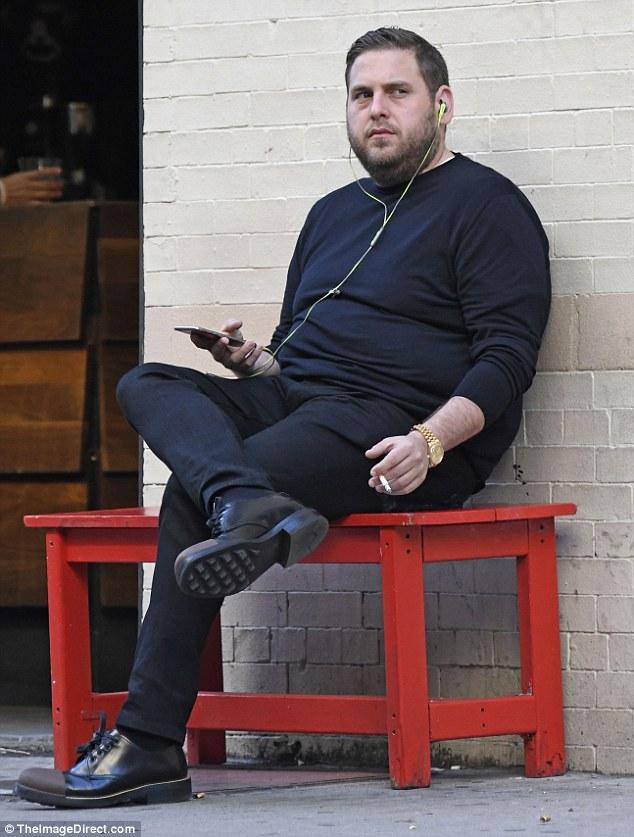 Jonah Hill Looks Thin As He Has Cigarette Break On A