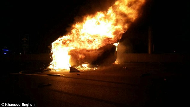 The passenger van burst into flames after crashing into a concrete barrier on the Chonburi-Bangkok motorway