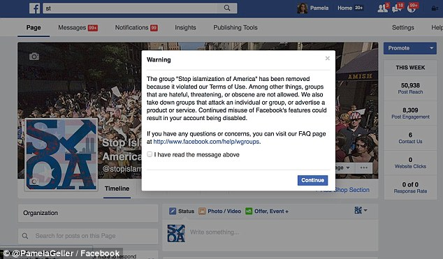 """'The group """"Stop islamization of America"""" has been removed because it violated our Terms of Use. Among other things, groups that are hateful, threatening, or obscene are not allowed,' Facebook wrote"""