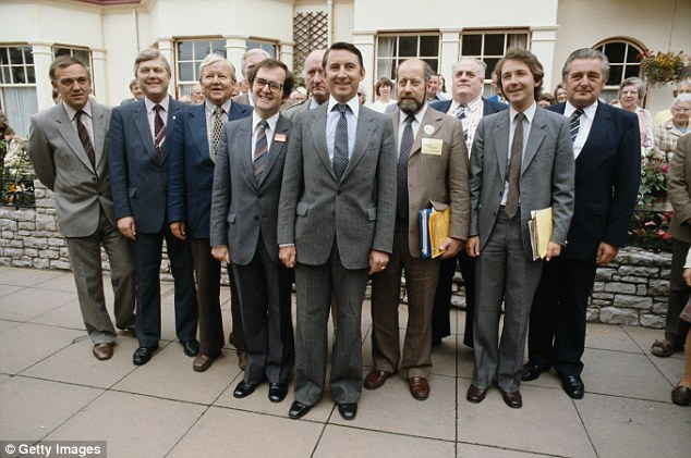 Freud, pictured behind Liberl leader David Steele, centre and in front of paedophile Cyril Smith, 3rd right