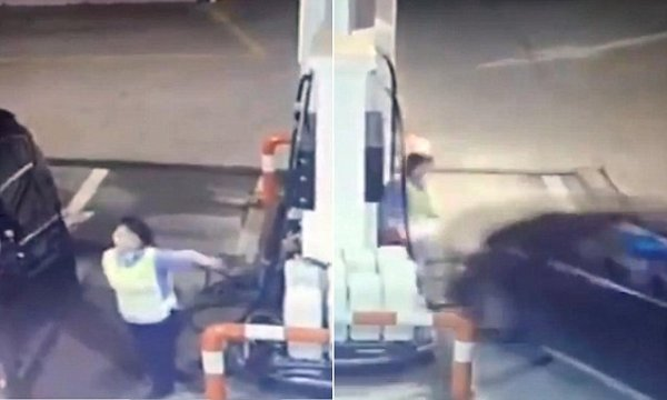CCTV footage captures the horrifying moment a driver ...