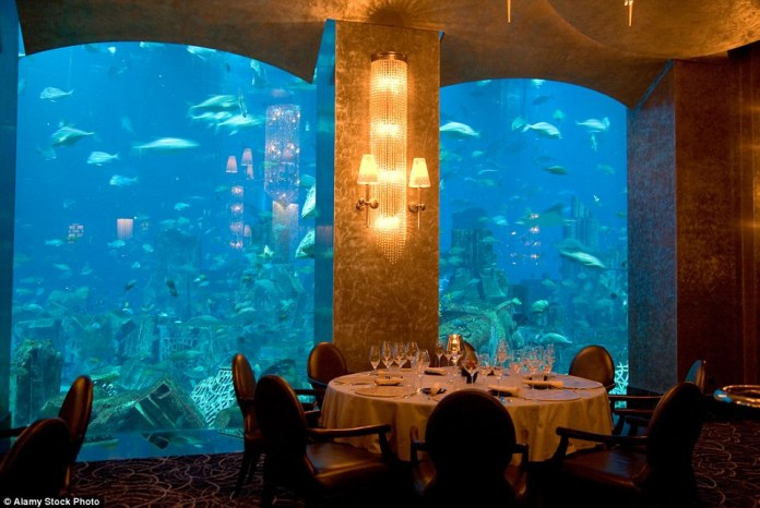 Ossiano Restaurant (pictured) is one of the restaurants at the hotel and is situated in the Aquarium, creating an immersive experience