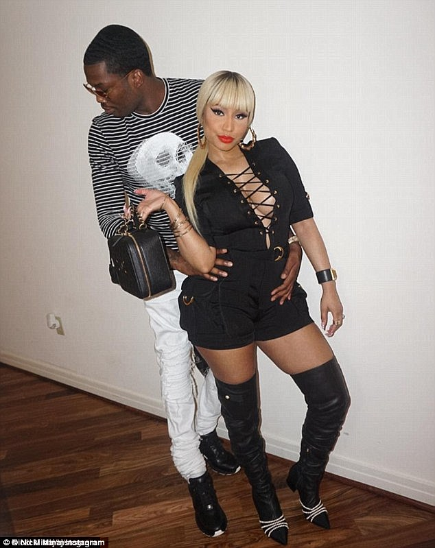 Going strong: Nicki and Meek Mill have been dating since 2014, and he has already bought her two diamond rings