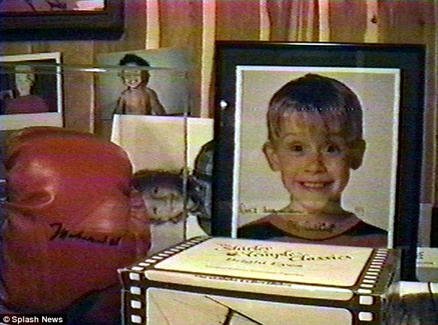 Secret closet: Macaulay Culkin signed a photo to Jackson (above) with the message: 'Don't leave me alone in the house'