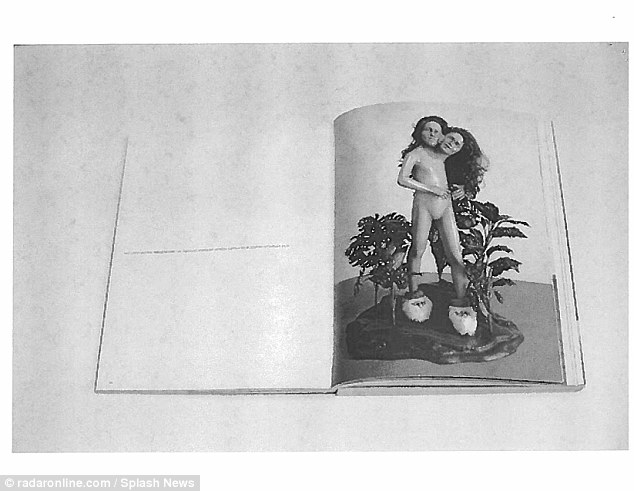 Images of a two-headed mannequin with no discernible sex parts in one of Jackson's books