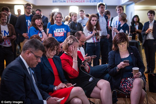 Shock: The Remain camp is distraught as Brexit voters outnumber Remain by more than a million