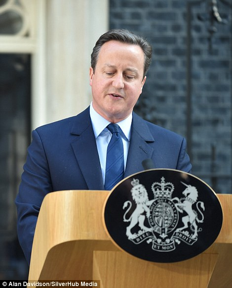 David Cameron delivering his resignation statement this morning