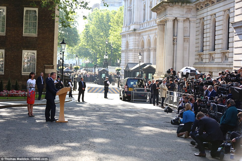 Hundreds of media were packed into Downing Street to watch Mr Cameron deliver his resignation statement in the wake of the referendum, while protester and spectators strained to see up the famous street from Whitehall
