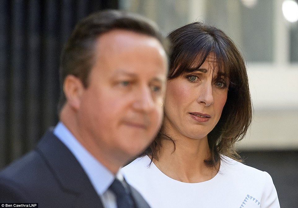 Mrs Cameron was clearly devastated for her husband as she listened to him confirm the end of his time in Downing Street