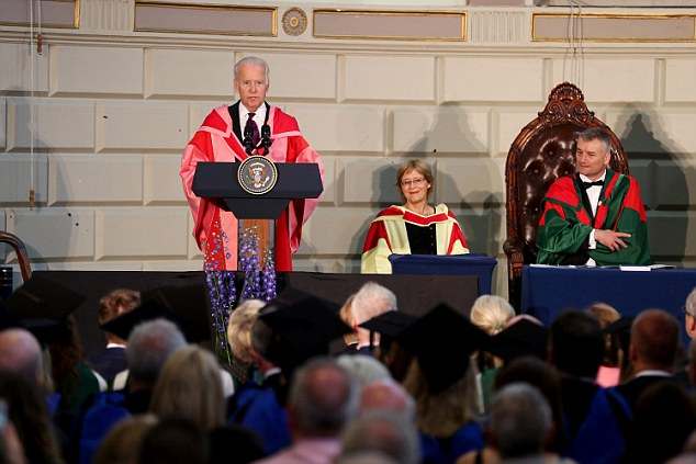 Vice President Joe Biden was in Ireland on Friday, receiving an honorary doctorate from Trinity College Dublin. 'I must say we had looked for a different outcome,' Biden said of Brexit