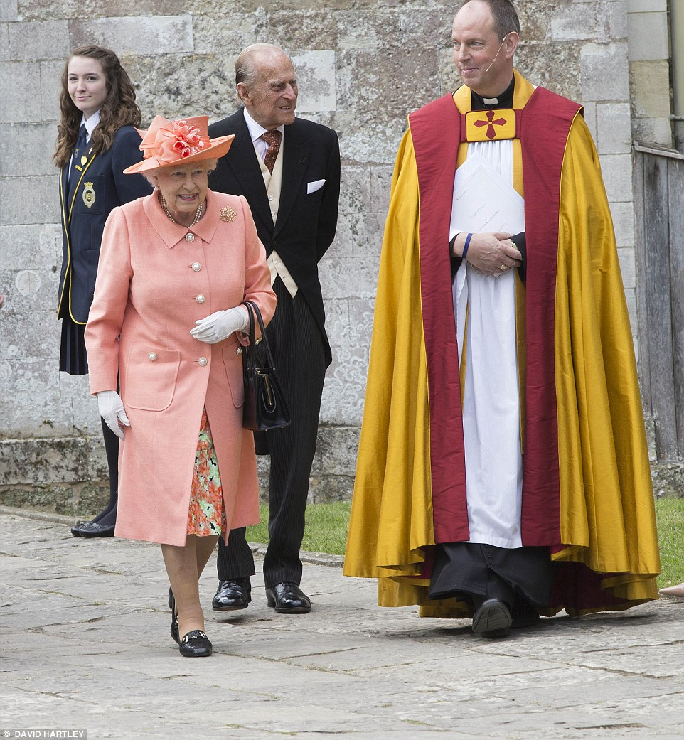 The Queen and the Duke of Edinburgh attend the wedding of Alexandra Knatchbull and Thomas Hooper today at Romsey Abbey