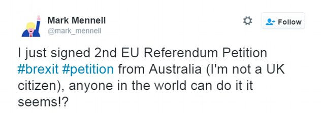 Twitter users abroad revealed they had signed the petition demanding a second referendum