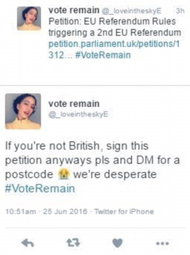One Twitter user calls for people living abroad to sign the petition regardless of whether they are British or not