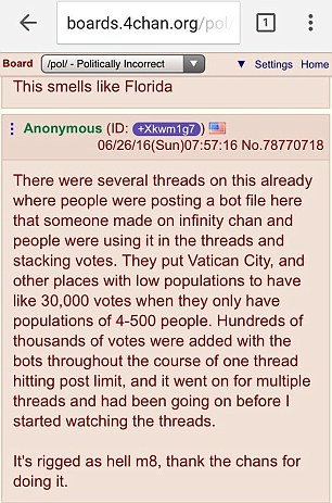 A user on the 4chan.org forum explains how hackers managed to hijack rig the petition