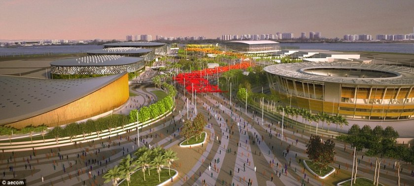 Different: Artists' impressions of the plans for the Olympics are a contrast to the scene at the Barra park where the velodrome (left) and tennis center (right) are in scaffolding. The aquatics center in the distance is finished but the others are not, nor is the landscaping