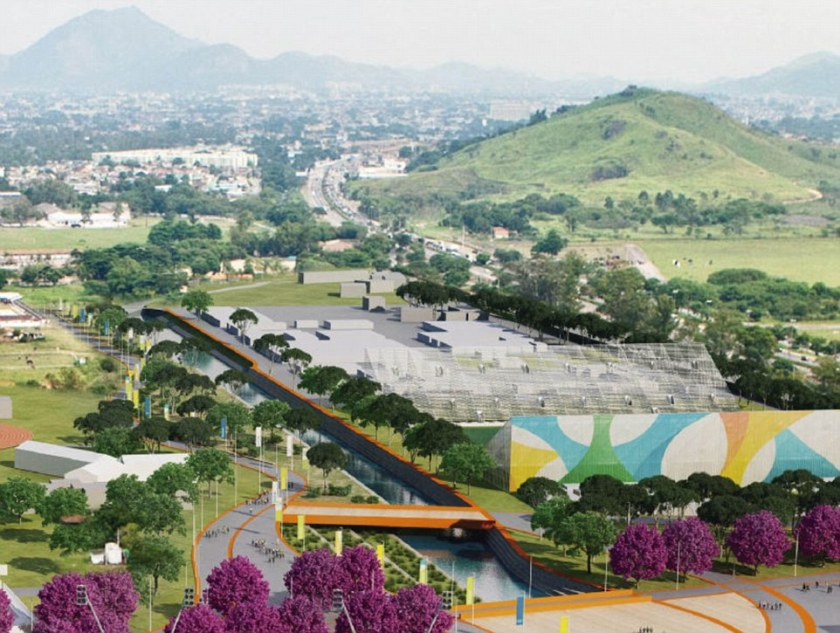 Impressive: The Deodoro park is intended to look like this, with landscaping and an Olympics way in the foreground and to the left