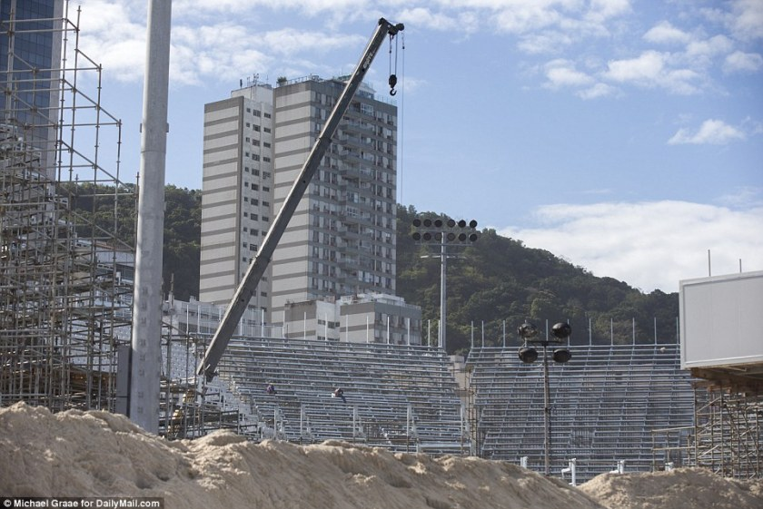 At least there's plenty of sand: This will be the beach volleyball venue in Copacabana but there is little to suggest what it will look like next month