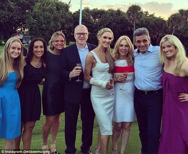 The producer (pictured third from left) attended Eric Trump and Lara Yunaska's lavish wedding in 2014