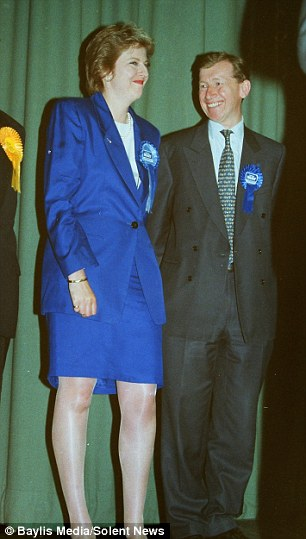 Theresa May becoming MP for the first time in 1997 alongside her husband Philip