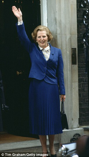 Mrs Thatcher in her blue suit in Downing Street in 1979