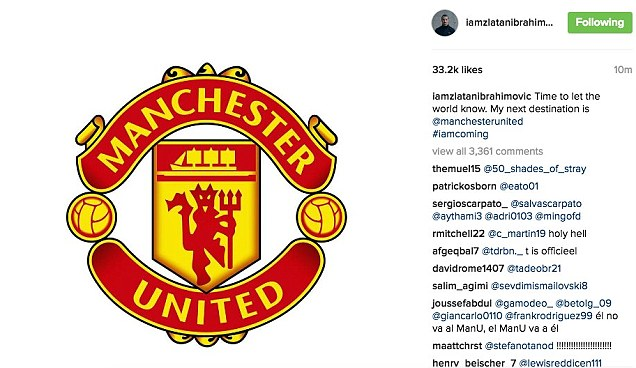 Ibrahimovic announced his move to Manchester United with an Instagram post on Thursday afternoon