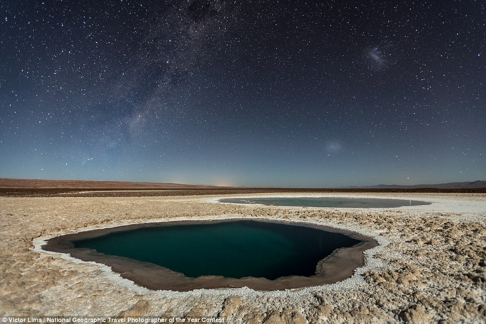 Lagunas Baltinache (Atacama Desert) by Victor Lima, who said: 'The Baltinache Ponds, also called Hidden Ponds are a set of seven salt ponds located in the area of the Salt Cordillera, near San Pedro de Atacama, in the second region of northern Chile, in the Atacama desert.After much research, I believe to be the first photographer to publish night photos of this place, but it is still necessary to confirm this information'