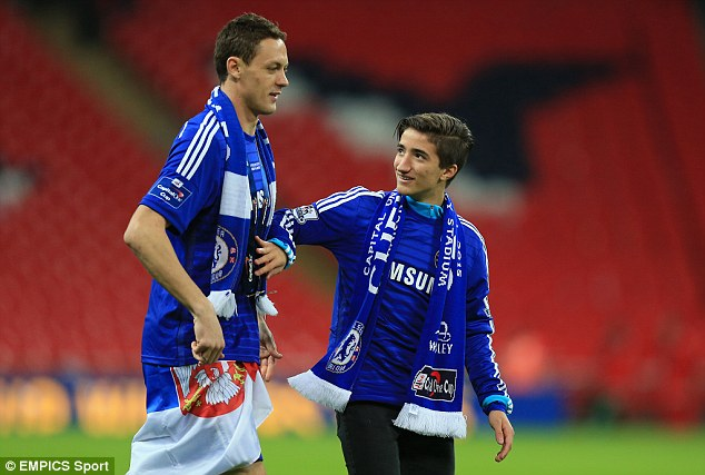 The son of Jose Mourinho, right, pictured celebrating Chelsea's League Cup victory in the 2014-15 season