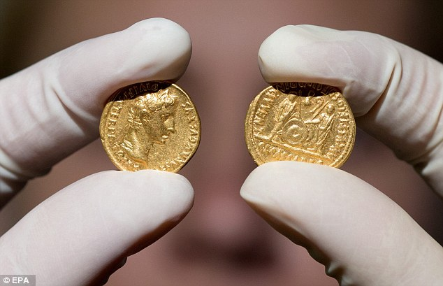 On the front of the coins, Emperor Augustus is pictured, Gaius and Lucius are pictured on the back of the coins, each carrying a lance, shield and a curved religious staff known as 'lituss.' They stand mirroring each other, and the researchers say this imagery has both military and religious allusions