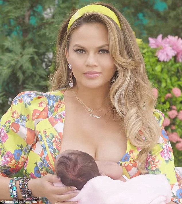 Rock a bye baby: Teigen shares the spotlight with her baby girl