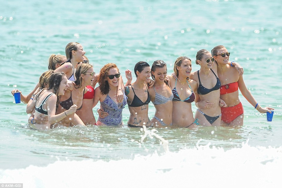 Squad: The pair were celebrating Independence Day Weekend with a celeb-packed beach party alongside Ryan Reynolds and Blake Lively, Gigi Hadid, Karlie Kloss, Ruby Rose and Uzo Aduba