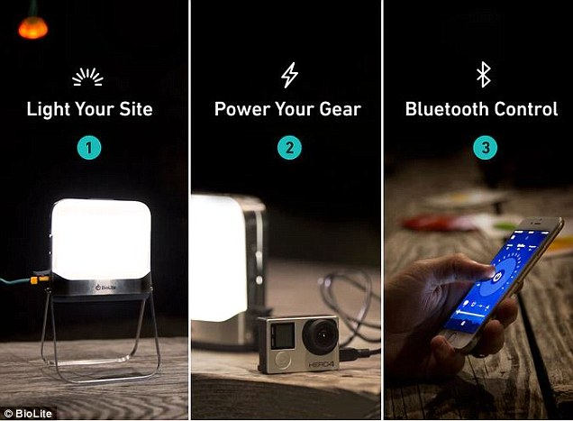 The tiny BioLite BaseLanterna built-in battery opens out into a lantern on legs with a built-in battery that can charge your electronics