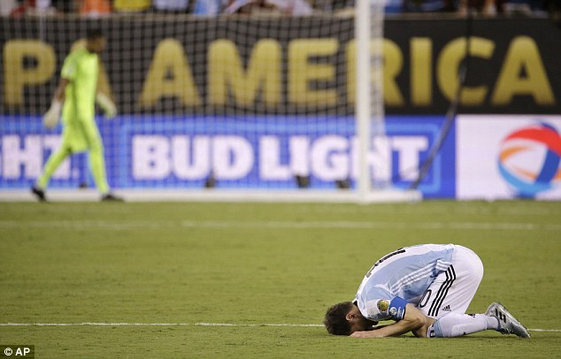 Messi was distraught after missing his penalty in Argentina's Copa America final shootout defeat