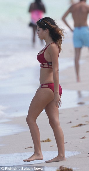 Alone time: Her rumoured boyfriend wasn't spotted on the beach