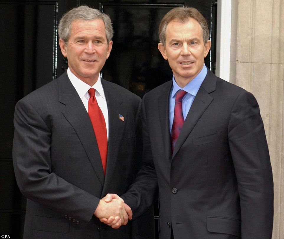 Among the revelations of the report are details of 29 secret communications between former US president George Bush, left, and Mr Blair, right, in the run-up to the war