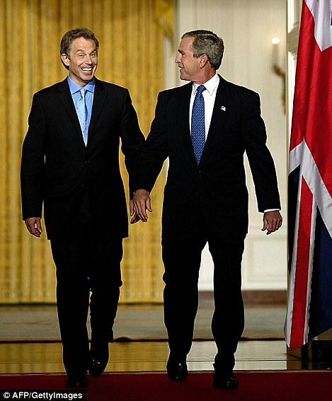 Bush and Blair  in  the White House in July 2003. Blair both supported and exerted influence over the US President in the build-up to war, the emails reveal