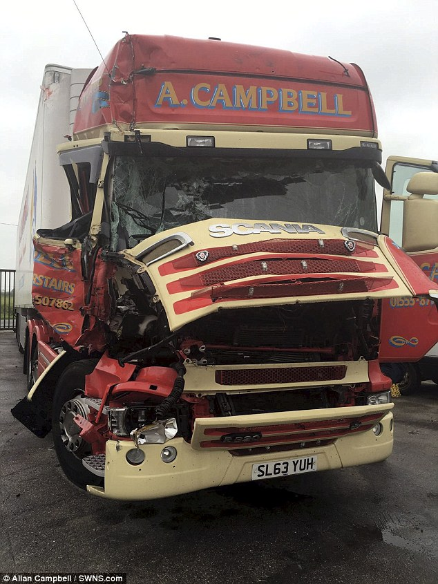 The truck belonging to Allan Campbell that was damaged in what he claimed was a trap set by migrants