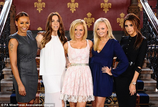 Say You Won't Be There! Mel 'Sporty Spice' C (second left) and Victoria 'Posh Spice' Beckham (far right) will not be on board for the reunion, which is set to celebrate the 20th anniversary of the band's debut