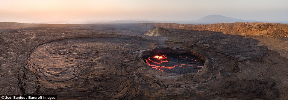 The Danakil Desert, where the volcano lies, is officially the hottest inhabited place on earth, meaning Mr Santos could only film in the early morning or late at night