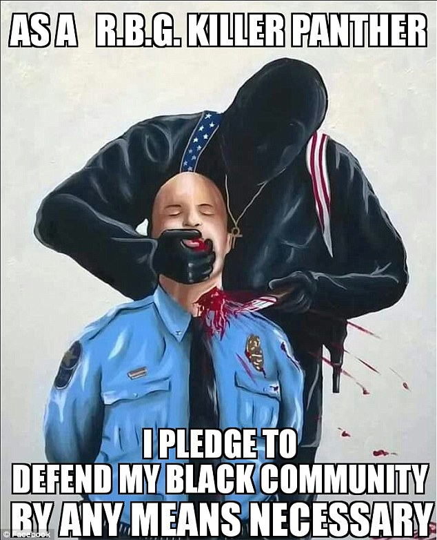Facebook has refused to remove a sickening cartoon of a police officer having his throat slit from a Black Panther page used by Dallas cop killer Micah Xavier Johnson