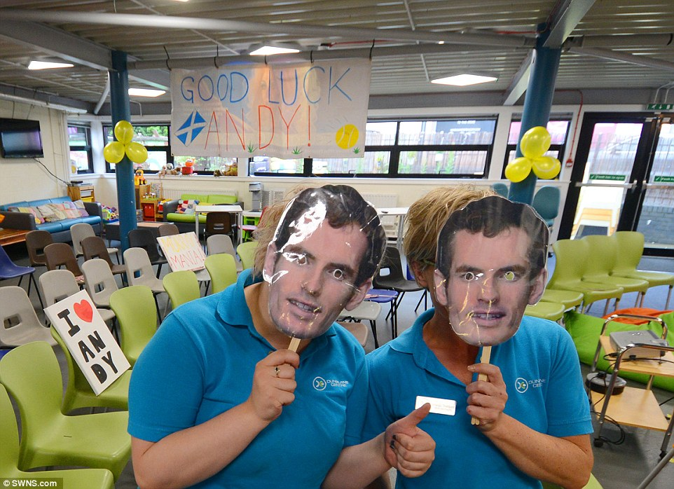 Many in Murray's hometown of Dunblane, Scotland, got in the spirit of the occasion by donning facemasks of the Wimbledon favourite, pictured in the Dunblane Centre