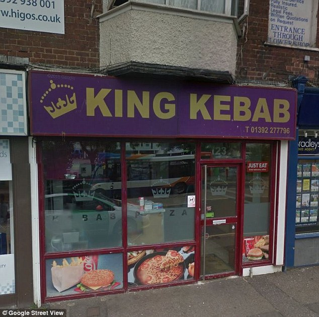 The attack happened outside King Kebab (pictured) and Subway fast food stores in the centre of Exeter