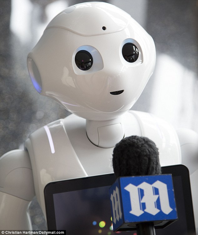 When a robot engages in inner speech and reasons with itself, humans can trace its thought process to learn the robot's motives and decisions. Pepper is pictured here previously being interviewed by MailOnline
