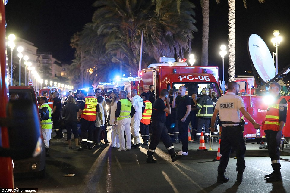 Thousands of people were on the promenade in Nice last night watching fireworks when the deadly attack was launched