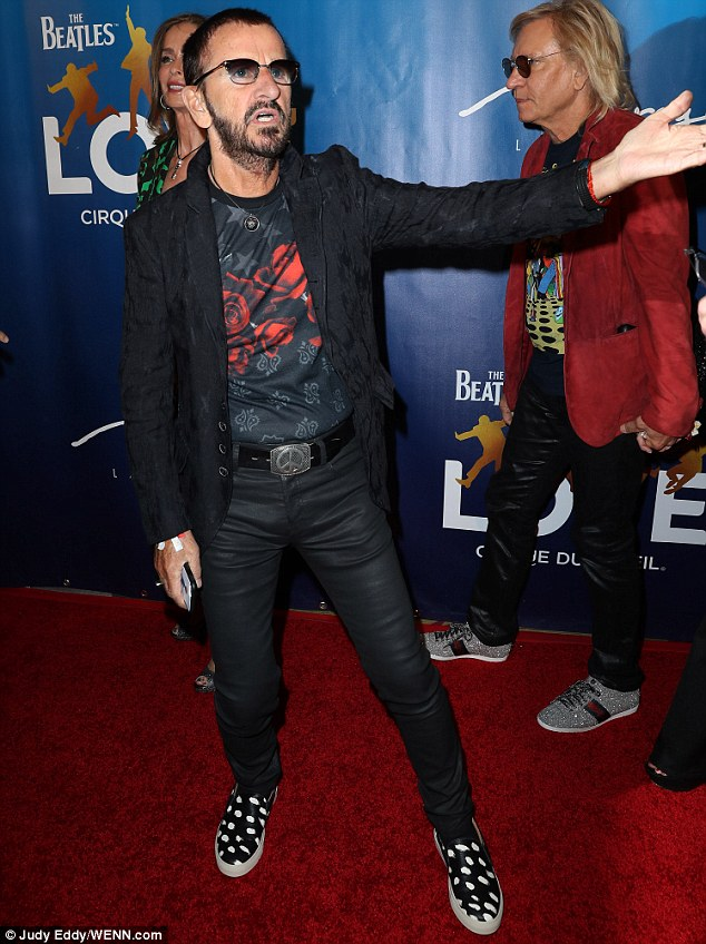 Famous drummer: Ringo Starr opted for the rocker look for the anniversary party