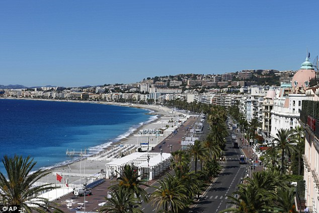 Chaos: This was the scene in Nice where the lorry raced the length of the famed Promenade des Anglais, leaving 84 dead in his wake
