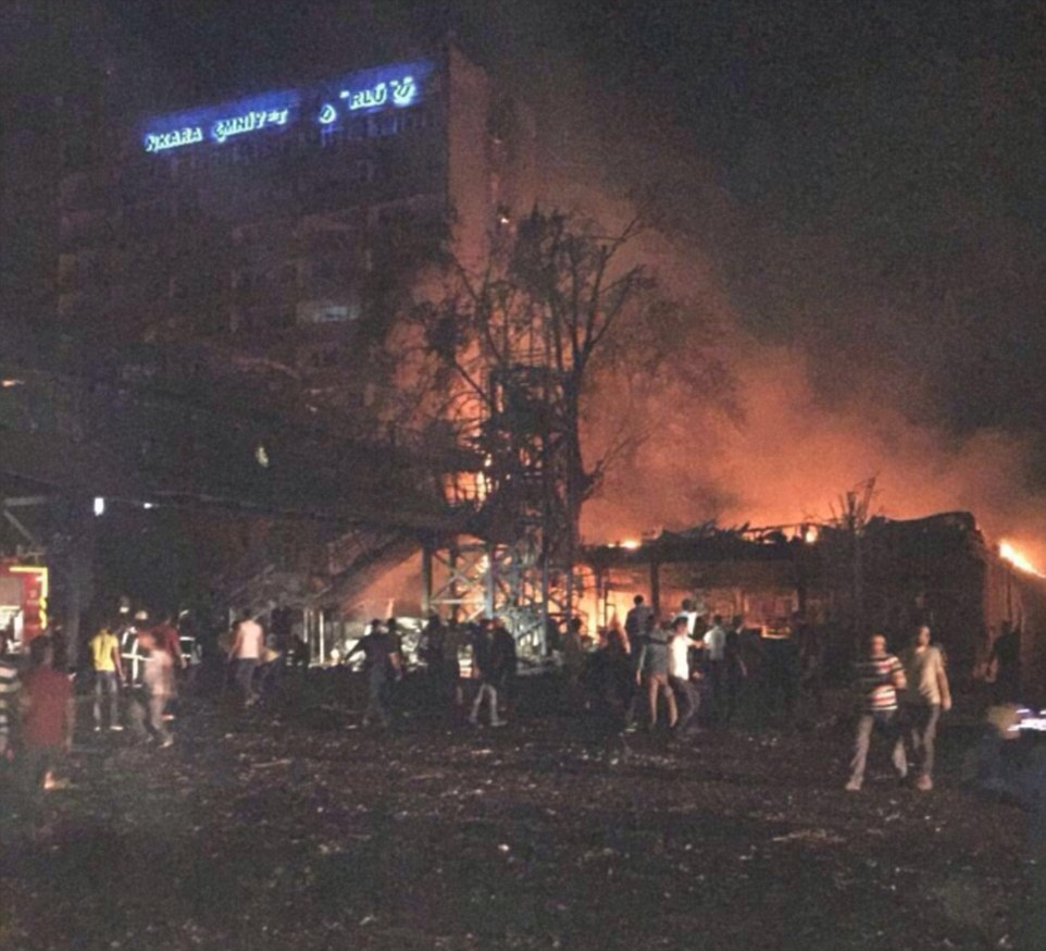 17 police are believed to have died after military helicopters attacked their headquarters building in central Ankara, pictured