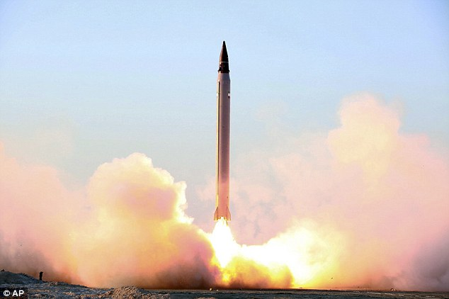 Iran has attempted to launch a new type of ballistic missile based on North Korean technology. Pictured: Iran's successful launch of an Emad long-range ballistic missile in October