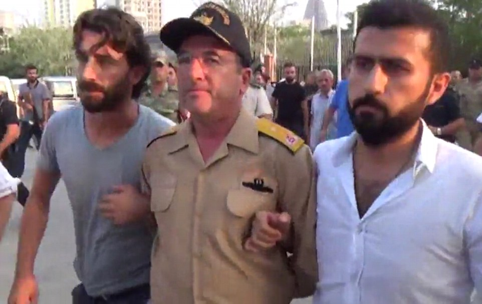 Rebel leader General Erdal Ozturk, pictured, has been arrested and charged with treason and possibly faces the death penalty