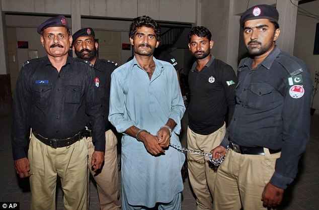 Her brother Muhammad Waseem, centre, admitted killing her at a police press conference and said he 'was not embarrassed' because her 'behaviour was intolerable'