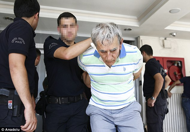 Among those arrested is Akin Ozturk, pictured, head of the air force until 2015 and a member of High Military Council (YAS), who was pictured looking dishevelled wearing a striped polo shirt